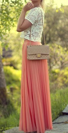 Lace + pleated maxi  so cute!