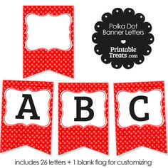 Red Polka Dot Banner Letters A-M