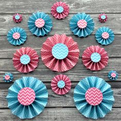 15 Paper Rosettes  Blue and Pink Chevron Paper by PartyByColor, $37.99