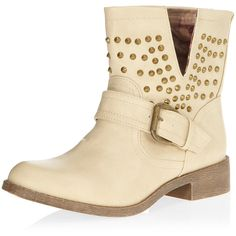 White PU studded biker boots ($55) ❤ liked on Polyvore