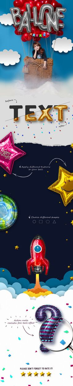 DOWNLOAD: goo.gl/SpK7GJBalloon Photoshop ActionWith this Balloon Action you can ease make a realistic foil-ball from text or geometric shape. The system allows you to quickly apply any patter...