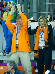 King Willem-Alexander of the Netherlands and Queen Maxima attend the Men's Speed Skating 5000m at the Adler Arena during the 2014 Sochi Winter Olympics on February 8, 2014.
