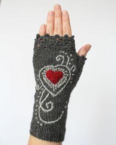 Knitted Fingerless Gloves, Gloves & Mittens, Gift Ideas, Dark Grey, Heart