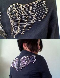 DIY safety pin wings on jacket - DIY Clothes Jeans Ideen Diy Clothing, Sewing Clothes, Diy Fashion, Ideias Fashion, Fashion Design, Safety Pin Crafts, Safety Pins, Diy Wings, Diy Kleidung