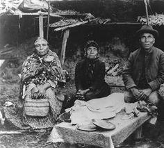 Siletz elders pose outdoors, Siletz Reservation, Oregon, ca. 1897. :: American Indians of the Pacific Northwest