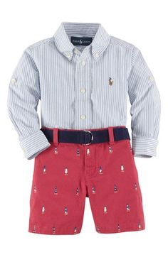 Ralph Lauren Shirt Shorts | Tiny lighthouses lend breezy seaside style to smart cotton shorts that coordinate with a handsome check shirt fitted with button tabs for when he wants to roll up his sleeves.
