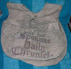 VINTAGE NEWSPAPER DELIVERY BAG THE SPOKANE DAILY CHRONICLE WASHINGTON PAPERBOY