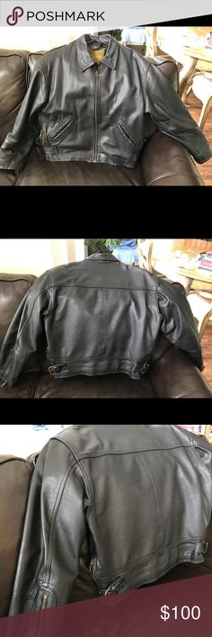 Black Leather Riding Jacket Black Leather Jacket with nylon lining.  Zippers all work smoothly.  No flaws, scratches, tears, loose threads,or stains.  I bought it in Florence, Italy but it doesn't fit and I barely used it.  Very good quality durable leather. Jackets & Coats Utility Jackets