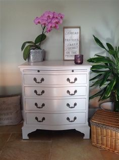 This impressive little French chest of drawers is painted in Farrow ...