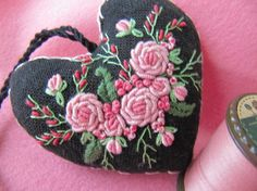 Buds and Blooms embroidery heart bullionrose Bullion Embroidery, Embroidery Hearts, Ribbon Embroidery, Embroidery Stitches, Embroidery Patterns, Stitch Patterns, Crochet Patterns, Feather Stitch, Embroidered Roses
