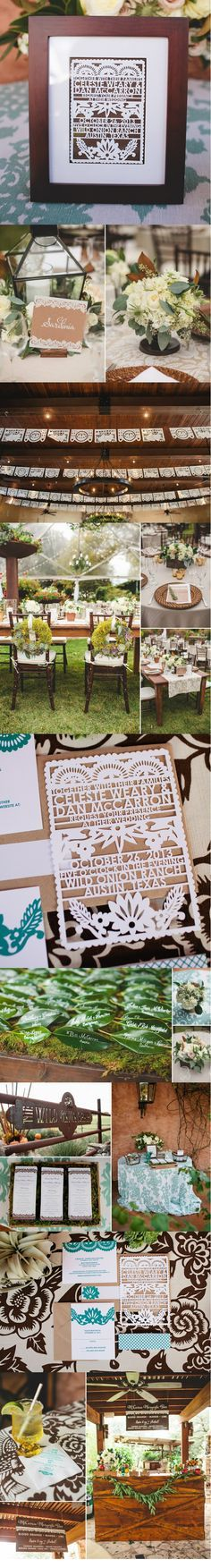 Laser Cut Wedding Invitations by Avie Designs. Papel Picado design. www.aviedesigns.com