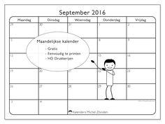 Gratis! Kalender voor september 2016 af te drukken