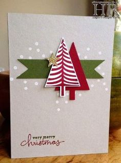 All Things Stampy: Festival of Trees Make & Take diy projects homemade christmas Homemade Christmas Cards, Christmas Cards To Make, Christmas Greetings, Homemade Cards, Christmas Crafts, Holiday Cards, Funny Christmas, Half Christmas, Christmas Ideas
