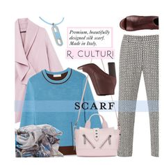"""R.Culturi scarves"" by mada-malureanu ❤ liked on Polyvore featuring Vince, SUNO New York, Tory Burch, Kenzo, Hermès and Rculturi"
