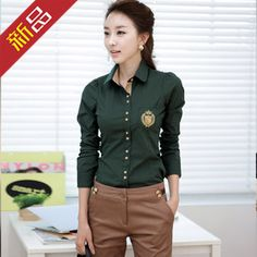 Taobao buying women's autumn outfit professional leisure OL embroidered show thin cultivate one's morality shirt female long sleeve shirt show thin