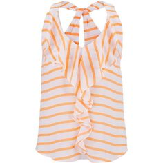 maurices Ruffle Front Striped Chiffon Tank ($15) ❤ liked on Polyvore featuring tops, tanks, melon combo, pink top, maurices, layering tank tops, layering tanks and chiffon tank