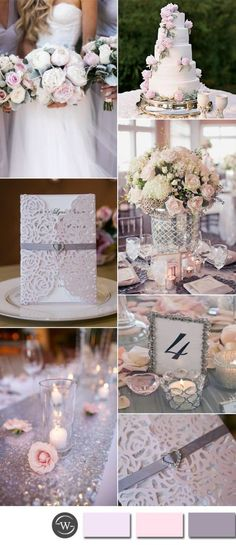 pale pink and silver glamour wedding ideas