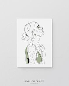 Abstract Portrait Line Illustration, Minimal Face Drawing In Lines, Printable Olive Green Fashion Sk