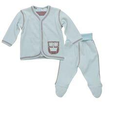 Owl Layette Set Jacket and Pant Misty Blue