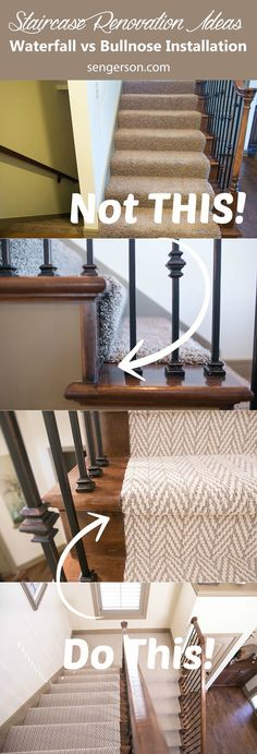 Stairway Design and Renovation Ideas 3 tips on renovating a staircase - from choice on patterns, waterfall versus tucked (hollywood style), and reasons to consider doing it yourself (DIY) so that you Stairway Carpet, Staircase Remodel, Staircase Makeover, Staircase Design, Basement Remodeling, House Remodeling, Kugel, Home Renovation, Diy Home Decor