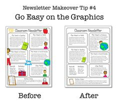 Why No One Reads Your Classroom Newsletter: A tutorial by Cult of Pedagogy's Jennifer Gonzalez. Tip #4: Go Easy on the Graphics. Too much clip art can make your  newsletter look like a mess. By choosing just a few items, you keep it clean and easy to read.