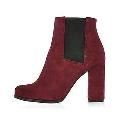 Dark red suede heeled ankle boots