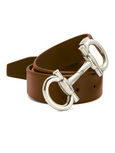 547f02c6032d9 ... canada ferragamo brown double gancini leather belt for men lyst 31152  c6705