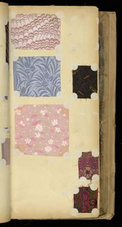 SAMPLE BOOK (FRANCE), 1890–1910 we acquired it in 1914. Its medium is silk, paper, cardboard. Hard cover book containing about 2,500 tipped-in samples of woven silks in florals, plaids and stripes.