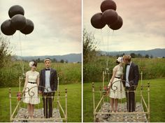 bride and groom with black balloons