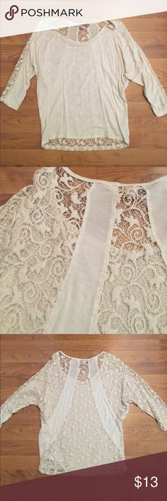 Lace back 3/4 sleeve top Cream 3/4 sleeve top with lace back. Only worn a few times, no signs of wear or tear. Still in great condition. Offers are welcome! Forever 21 Tops Tees - Long Sleeve