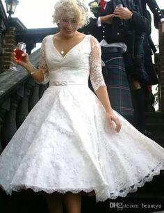 fb6ecc3a514f Discount Vintage Lace 1950s Short Wedding Dresses A Line V N Eck 1 2 Long  Sleeves Tea Length Bridal Gowns 2016 Cheap Beach Vestidos Couture Wedding  Gowns ...