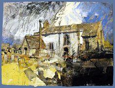David Tress  'Inglesham, Wiltshire', mixed media on paper, 58x76cm, 2008