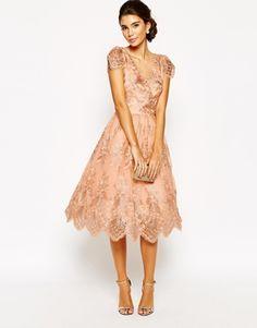 Enlarge Chi Chi London Wrap Front Full Midi Prom Dress In Premium Metallic Lace