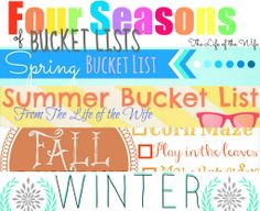 Four Seasons of Bucket Lists Spring, Summer, Fall & Winter Bucket Lists ALL IN ONE PLACE! BOOM!