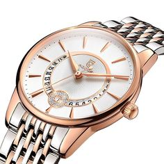 ROCOS Women's Watch Japanese Quartz Luxury Wrist Watch. 9 Rhinestone Rose Gold Waterproof Stainless Steel Bracelet Bangle Watches Calendar for Ladies Gift. Rolex Watches For Men, Luxury Watches For Men, Analog Watches, Women's Watches, Rose Gold Watches, Silver Watches, Elegant Watches, Watch Brands, Stainless Steel Bracelet