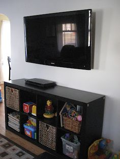 For the game room. How To Wall Mount TV and Hide Cords. Extremely detailed and so helpful! Makes me think we can do this cause I absolutely hate the cords showing. My Living Room, Home And Living, Small Living, Living Area, Living Colors, Diy Home Decor, Room Decor, Wall Mounted Tv, Basement Remodeling