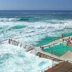 Honeymoon | UAU. Isto é que é um mergulho revigorante. As piscinas de Bondi Icebergs em Sydney são de água salgada das ondas quebrando nas rochas. A piscina e clube de praia, fundados em 1929, são um lugar  seguro, livre de tubarões, para os banhistas relaxarem e se divertirem.  Bondi Icebergs foi originalmente construído como um lugar para os salva-vidas manterem a forma durante o inverno.  #bondiicebergs #australia #Beach#praia#icasei #wedding #sydney #casamento #luademel #honeymoon…