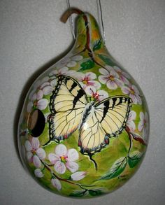 Butterfly Painted Gourd Birdhouse Yellow Swollowtail on Blossoms on Etsy, $55.00