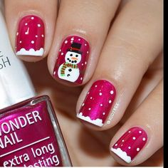Image christmas nail art designs - click the picture to see them all!Image viaChristmas Nail Art Design Ideas I don't care for the sn Fancy Nails, Cute Nails, Pretty Nails, Holiday Nail Art, Christmas Nail Art Designs, Xmas Nails, Christmas Nails, Santa Christmas, Winter Christmas