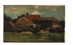 Artwork by Willem de Zwart, A farm and a hay-stack in a landscape, Made of oil on canvas laid down on panel