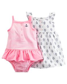 Carter's Baby Girls' 2 Piece Striped Romper And Printed Dress Niñas Carters Baby, Carters Baby Clothes, Carters Dresses, Cute Baby Clothes, Baby Girl Dresses, Baby Girls, Carters Clothing, Outfits Niños, Kids Outfits