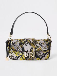 River Island Womens Grey floral jacquard underarm bag (One Size) Satchel, Crossbody Bag, Leather Texture, High Leg Boots, Womens Purses, Long Toes, Underarm, River Island, Calves