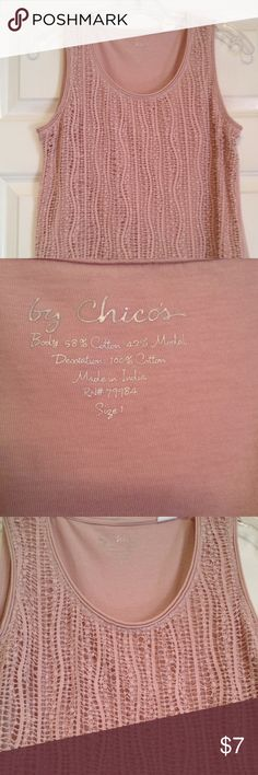 Chico's Ballet Pink Crochet top 1 M pretty! Chico's tank top medium size 1 ballet pink EUC great neutral with brown black navy Chico's Tops Tank Tops