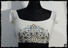 handpainted Crop Top , S , gold silver geometric by Black Cat Design von BlackCatDesing auf Etsy