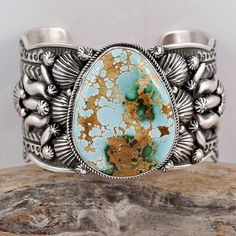 A+ Darryl Becenti GEM Natural Royston Turquoise Bracelet Sterling Silver Navajo