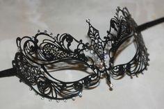 Beautiful Black Metal Masquerade Mask with Diamonte Crystal