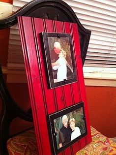 Painted bead board with frames attached...good idea!