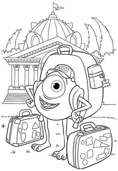 Coloring Pages Free Anime Movie Monster Inc Mike Wazowski For Kids Printable Boys