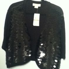 Michael Kors knit bolero with sequin Bolero style knit sweater with sewn embellishments MICHAEL Michael Kors Sweaters