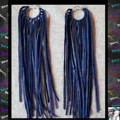Blue Leather Fringe Earringsleather by iLoveThelmaLu on Etsy